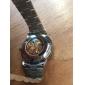 Herr Armbandsur mekanisk klocka Ihålig Gravyr Automatisk självuppdragande Rostfritt stål Band Lyxig Silver