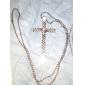 liga colar padrão de cruz (prata)