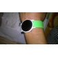 Unisex Jelly Sports Style Round Mirror Face Red Light LED Wrist Watch - Green