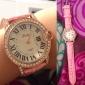 아가씨들 패션 시계 일본 쿼츠 모조 다이아몬드 석영 PU 밴드 스파클 화이트 핑크