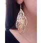 Femme Boucles d'oreille goutte Creux Elegant Long Européen Bijoux Fantaisie bijoux de fantaisie Alliage Forme de Feuille Bijoux Pour