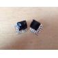 Box pleine de diamants de gemme noire tranche diamant de rétro bijou boucles d'oreilles de luxe européens et américains de diamant noir d'oreille E72