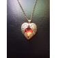 Faceted Ruby Red Diamond Peach Heart Wings Long Necklace