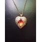 Грановитая Ruby Red Алмазный персик сердца крылья длинные ожерелья