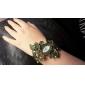 Women's Bohemia Style Green Crystal Leaf Style Silver Alloy Quartz Bracelet Watch