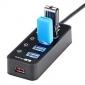 STW USB3.0 5 портов USB HUB с индивидуальным власти переходит светодиодов 5V / 2A адаптер питания