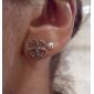 Boucles d'oreille goujon Alliage Mode Forme de Feuille Argent Bijoux Quotidien