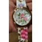 Women's Colorful Flower Pattern Silicone Band Quartz Wrist Watch Cool Watches Unique Watches