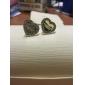 Brincos Curtos Amor Jóias de Luxo Strass imitação de diamante Liga Prata Rosa Dourado Jóias Para Casamento Festa Diário Casual 2pçs