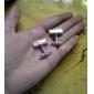 Z&X® просто серебряные прямоугольные параллелепипеды запонки