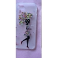 Diamond Butterful Skirt Girl Painting Transparent Plastic Case for iPhone5/5S