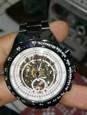 WINNER Homens Relógio Esqueleto / Relógio de Pulso / relógio mecânico Impermeável / Gravação Oca / Luminoso Aço Inoxidável Banda Luxo / Vintage Preta / Automático - da corda automáticamente